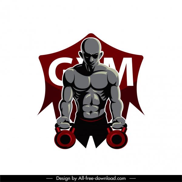 gym athlete icon muscular man sketch modern dark