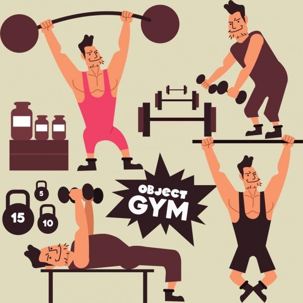 gym design elements athlete weight icons cartoon design