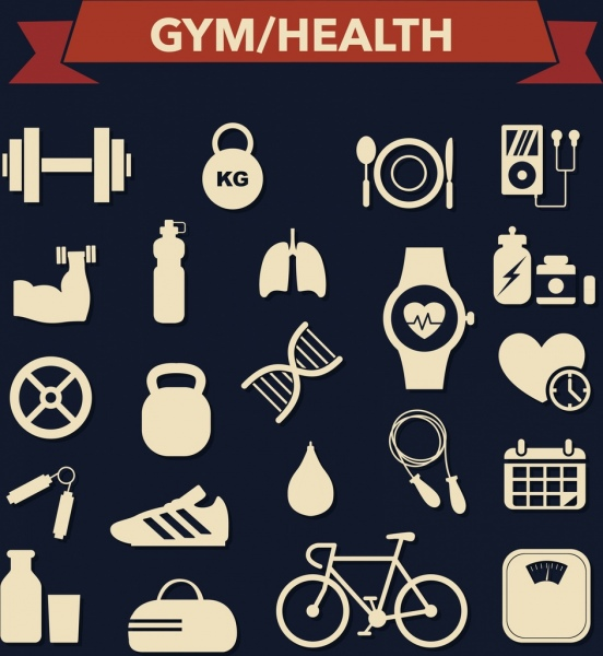 gym design elements flat white silhouette objects