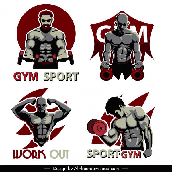 gym sports icons muscular athlete sketch dark design