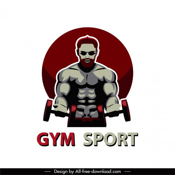 gymnasium sport icon muscle man sketch dark design