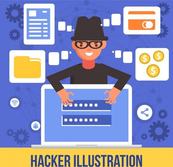 hacker hazard banner man laptop internet security icons