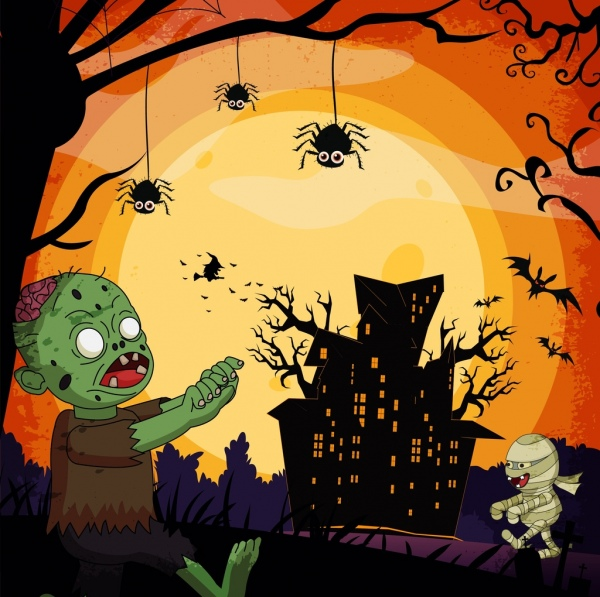 halloween background scary design elements colored cartoon