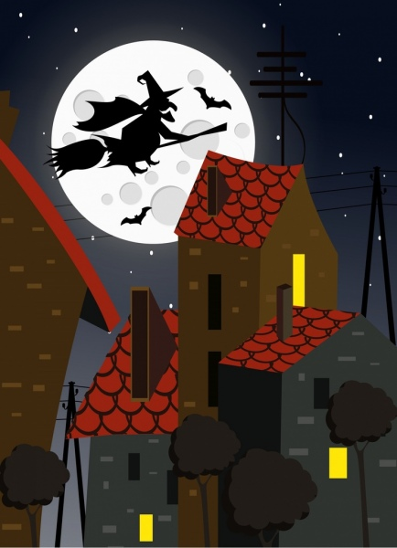 halloween background wizard bats moonlights icons silhouette decor