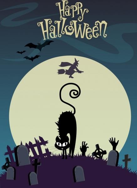 halloween banner black cat moonlight tomb wizard icons