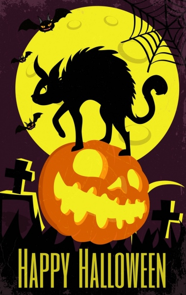 halloween banner black cat scary pumpkin moonlight icons