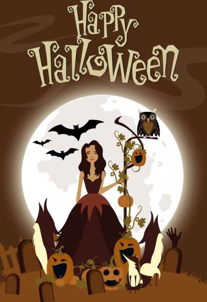 halloween banner brown decor moonlight pumpkin lady icons