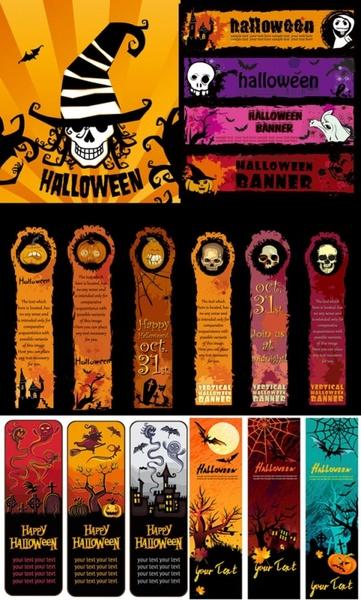 halloween banner element vector
