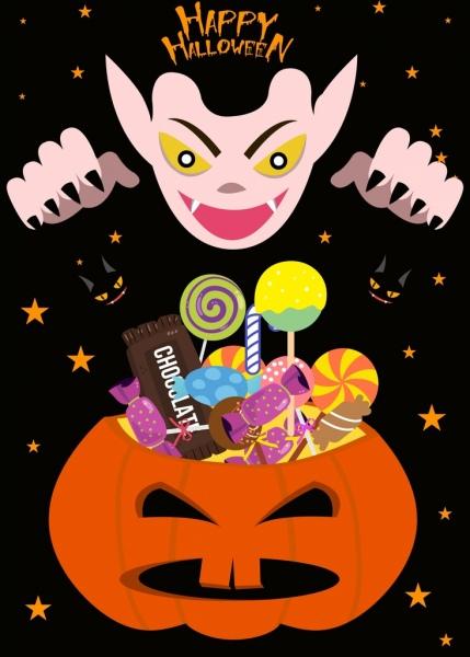 halloween banner evil pumpkin candies decoration
