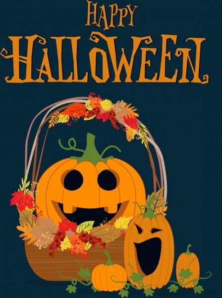 halloween banner funny decorative pumpkin icon multicolored decor