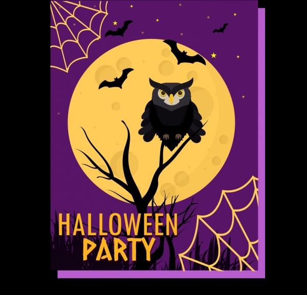 halloween banner horrifying design black owl icon