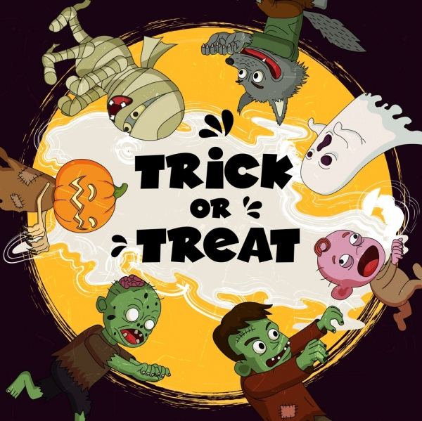 halloween banner scary characters icons circle layout