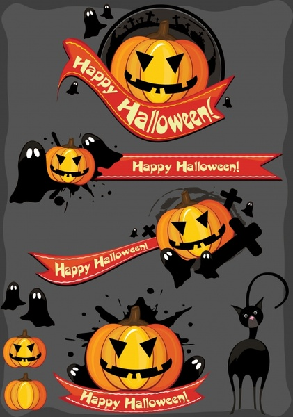 halloween design elements pumpkin ghost cat ribbon sketch