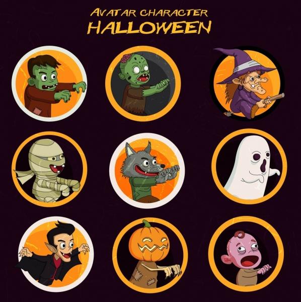 halloween characters avatars colored cartoon circle isolation
