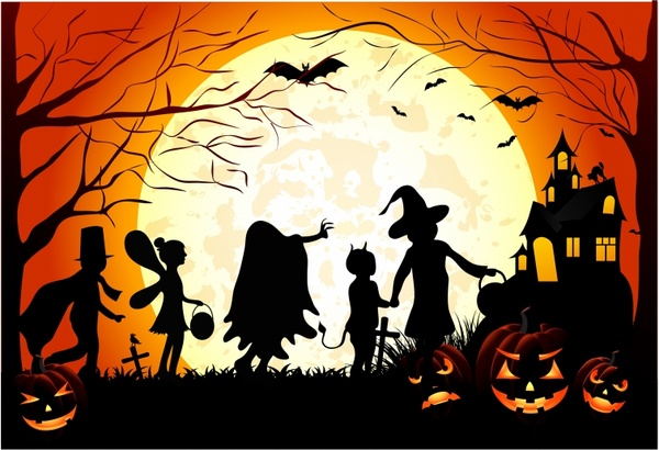 Halloween Trick Or Treat Silhouette.Halloween Children Trick Or Treat Free Vector In Adobe