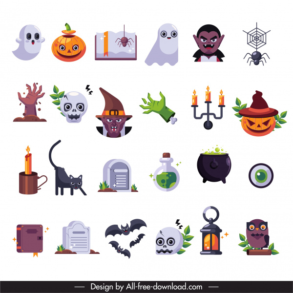 halloween decor elements scary symbols sketch