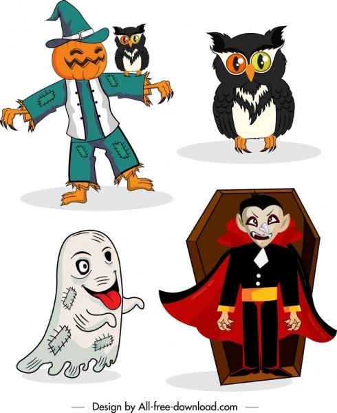 halloween design elements pumpkin owl ghost devil icons