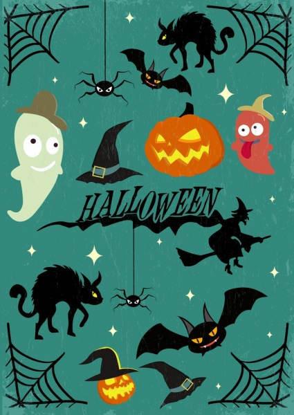 halloween design elements scary icons isolation
