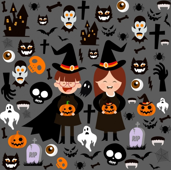halloween design elements various scary symbols isolation
