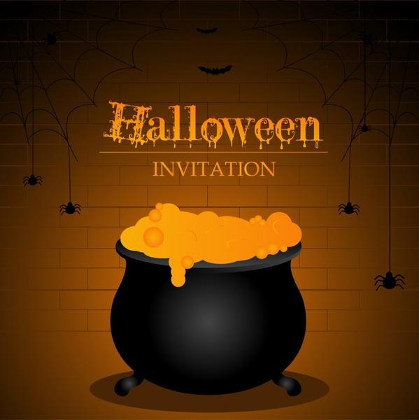 halloween invitation card template dark poison spiders decor