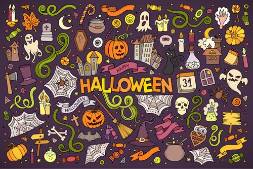 halloween hand drawing decorative elements vector