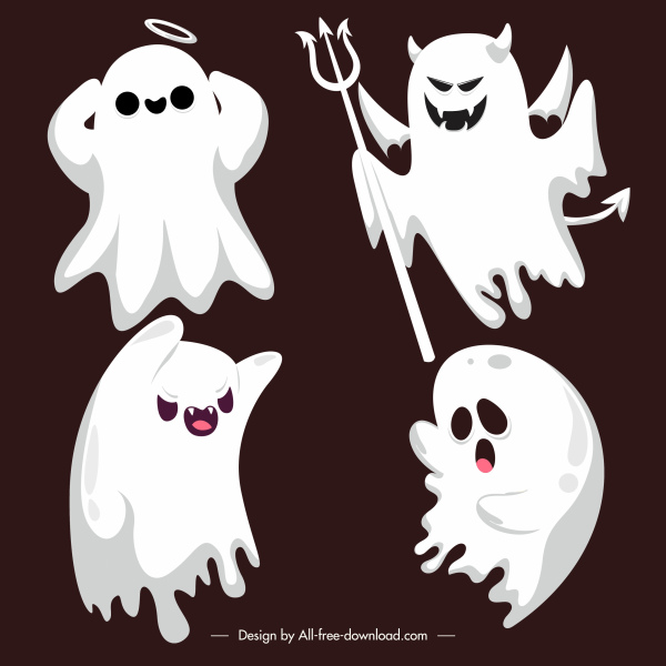 halloween icons ghost devil sketch cartoon characters