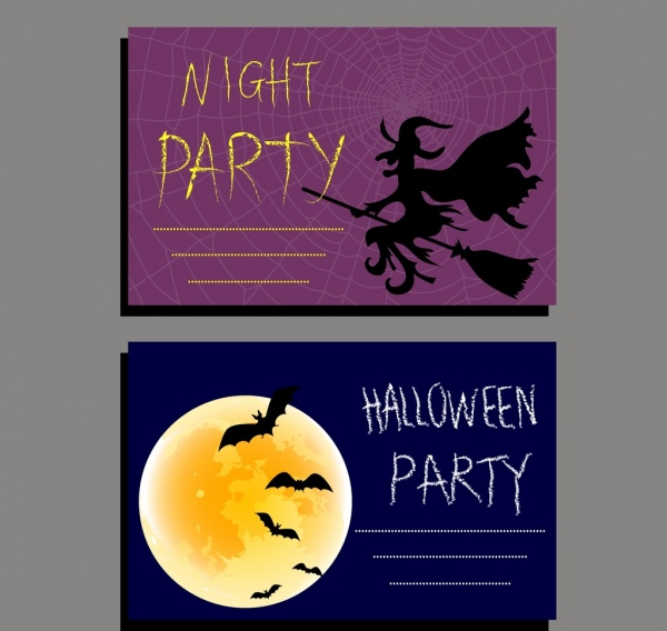 halloween invitation card templates wizard bat moonlight icons