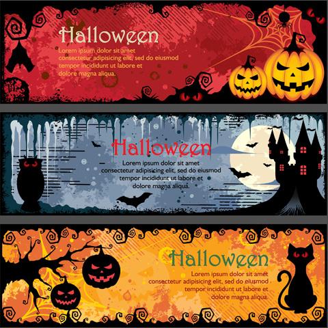 halloween night banner vector set