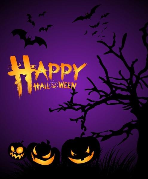 halloween night poster template vector illustration