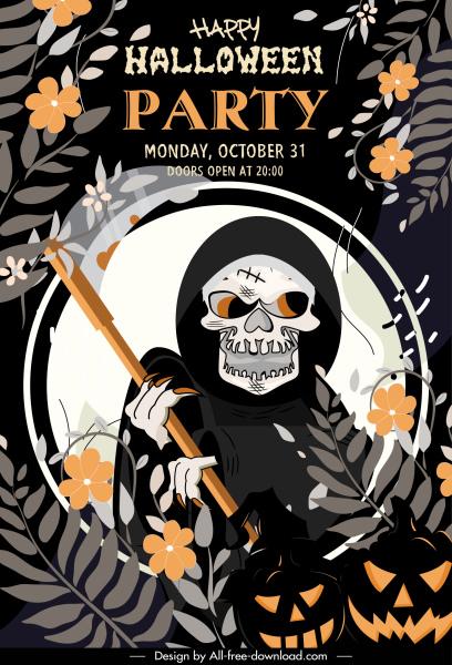 halloween party banner death flowers decor dark classic