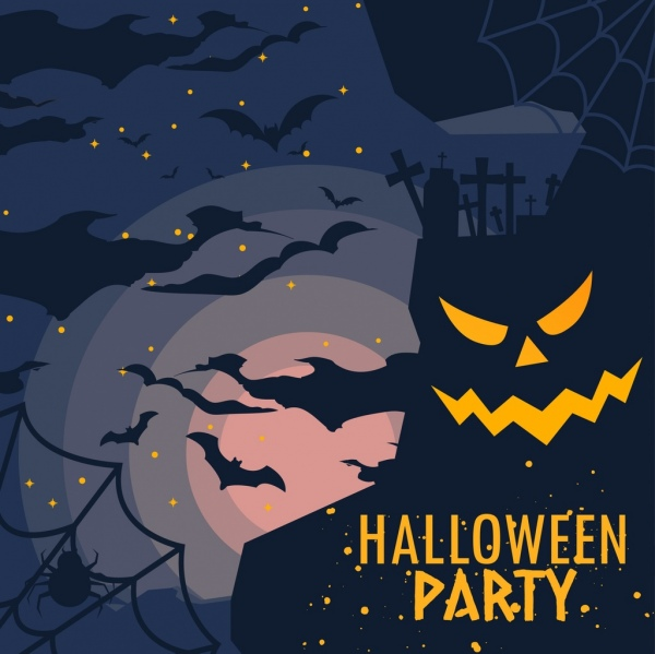 halloween party banner scary dark design