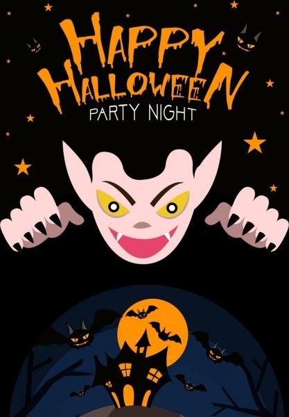 halloween party banner scary evil bats dark decoration
