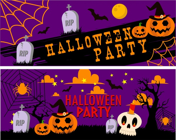 halloween party banners symbol elements on violet backdrop