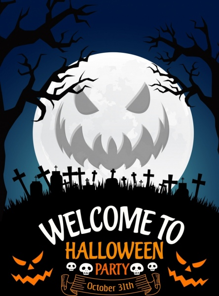 halloween party poster scary moon icon tombs silhouette
