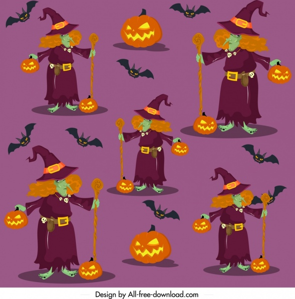 halloween pattern old witches pumpkins icons repeating design
