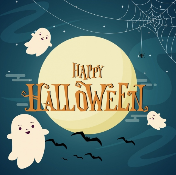 halloween poster cute ghosts spider bat icons decoration