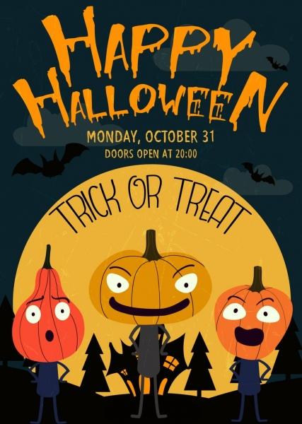 halloween poster pumpkin masks icons moonlight decor