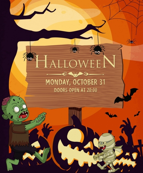 halloween poster scary characters wooden signboard ornament