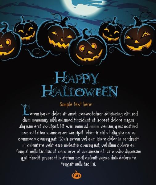 halloween posters beautiful background 02 vector
