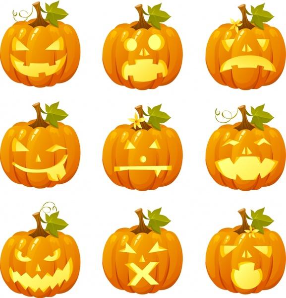 halloween pumpkin icons modern 3d sketch horror faces