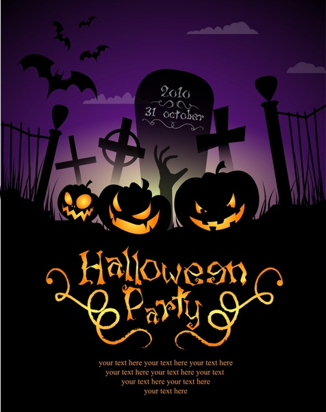 Halloween Poster Background Free.Halloween Pumpkin Lights Poster Background Vector Free