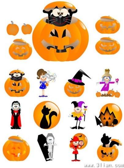 halloween design elements funny cute icons cartoon sketch
