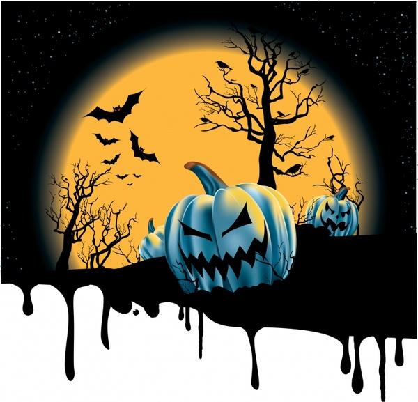 halloween background moonlight pumpkin bats decor melting decor