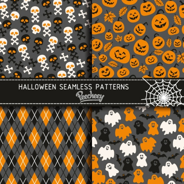 halloween seamless patterns free vector 116mb