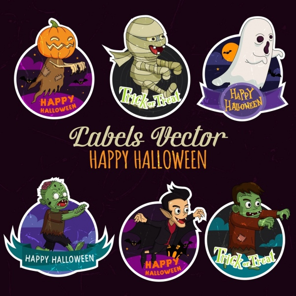 halloween tags collection scary icons decor