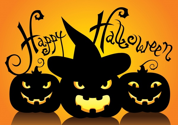 halloween banner horror pumpkin icons silhouettes design