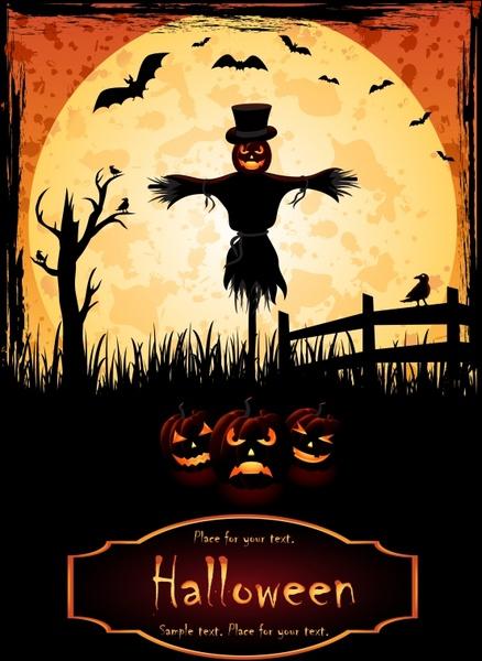 halloween poster dark scary pumpkink scarecrow bats icons
