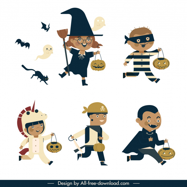 haloween characters icons joyful costumed kids sketch