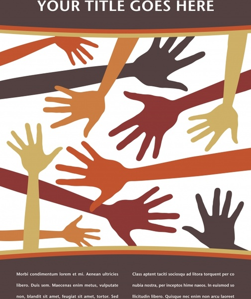 community banner hands arms icons colorful flat design