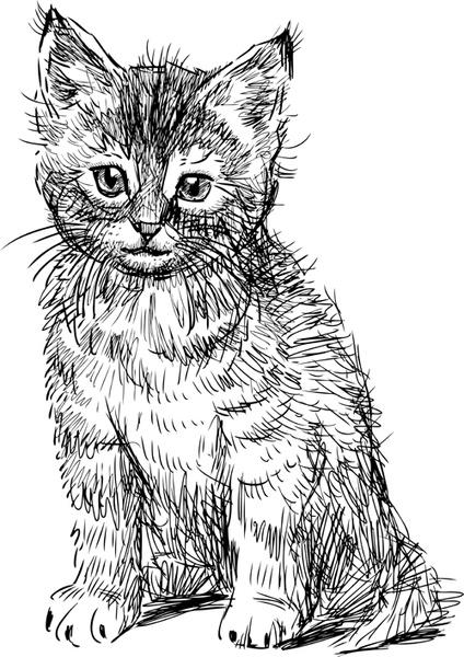 hand drawing black kittens vector